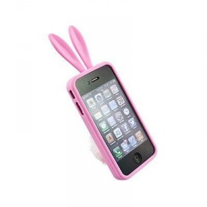 Fluffy Bunny Rabbit Ears and Tail Cute pink iphone case and stand
