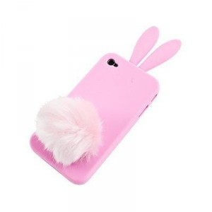 cute &amp; girly pink bunny rabbit with cotton tail iphone case and stand
