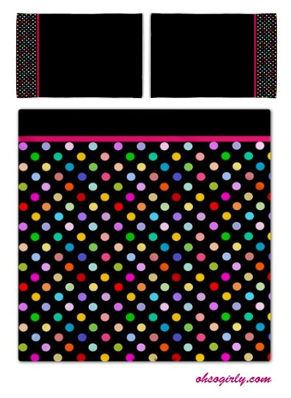 Black Rainbow Polka dot bedding - pillow cases and duvet cover