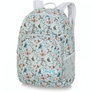 White backpack with pink flower and blue bird design from the Dakine Girls Hana Pack series