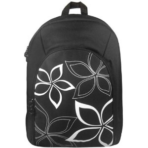 Black Trendy Contemporary Floral Backpack