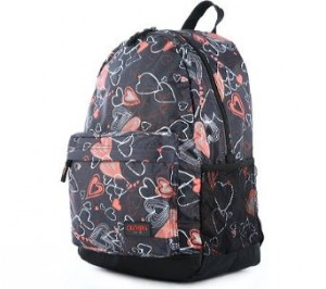 Black and Red Girls Heart pattern backpack by Olympia Bravo