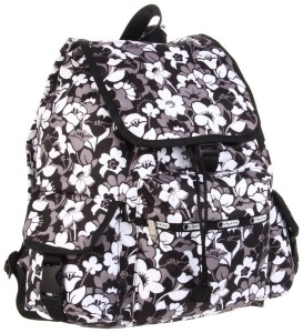 Black and white floral backpack by Lesportsac