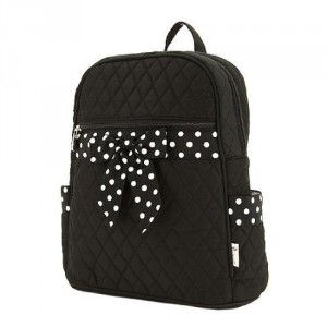 Black & black and white polka dot ribbon bow backpack