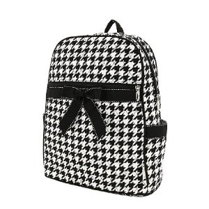 Black and White Houndstooth pattern and black bow backpack
