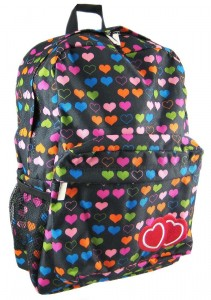 Girls Black and Rainbow Hearts Backpack