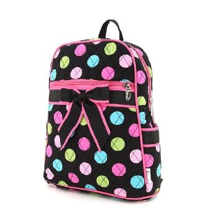 Black colorful polka dots rucksack with black bow & hot pink trim