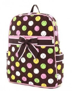 Black backpack with pink, green, yellow & white dots and black bow