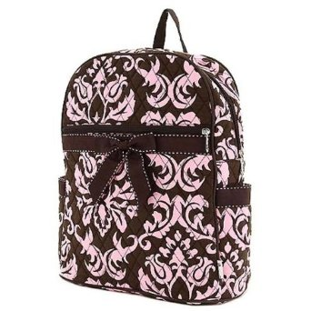 Pale Pink & black damask with black bow backpack
