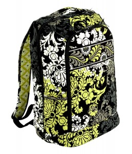Contemporary Green, White & Black Floral Backpack by Vera Bradley
