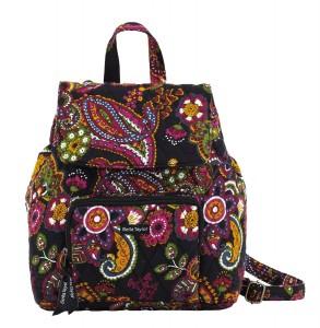 Black floral backpack for women