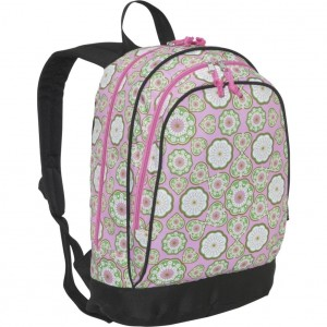 Stylized Flowers and Hearts Pink Backpack