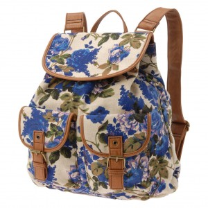 Elegant Stylish Beige White and Purple Blue Flowers Girls backpack - ALDO Menches - Clutches