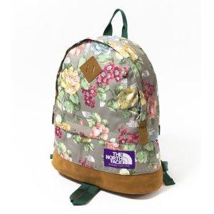Green grey North Face Vintage floral backpack