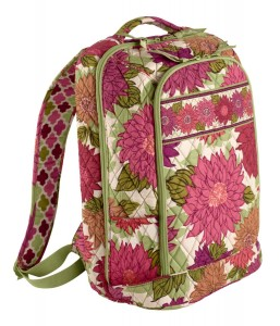 White, Green & Red floral laptop backpack bag by Vera Bradley