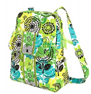 Bright summery green floral laptop backpack by Vera Bradley