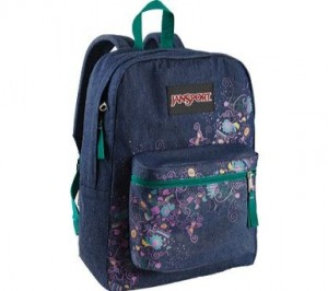 Blue Denim and flowers floral backpack by JanSport