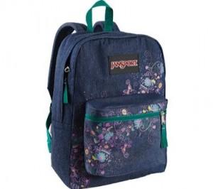 Blue Denim and flowers floral backpack by JanSport
