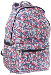 Blue and Red Floral Backpack - delicate flower pattern by Lesportsac