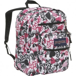 Girls White, hot pink and Black heart backpack by JanSport
