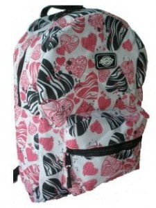 Pink, white and black hearts knapsack by Dickies