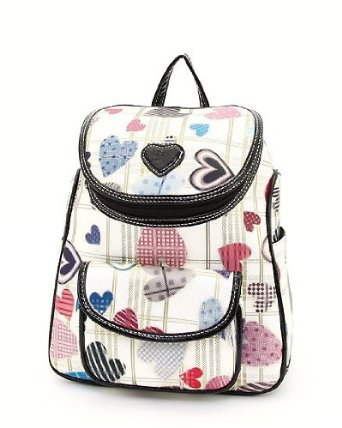 Cute Girly Girls White and Scattered Hearts Backpack