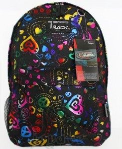 Black backpack with Rainbow Colorful 80s style hearts by Track