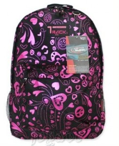 Black and Pink Hearts backpack by Track