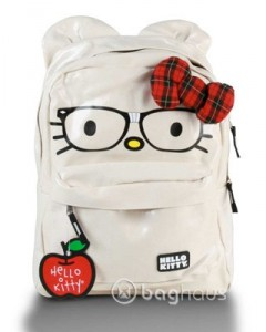 Nerdy / Hipster Hello Kitty Backpack with Red bow