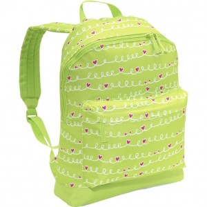 Girls Lime Green and Pink Hearts Backpack