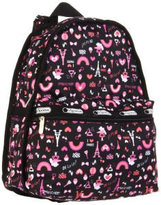 Black and Pink Paris Love: Rainbows, Eiffel Towers & Girls Hearts Backpack by Lesportsac