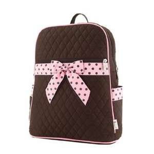 black and pink polka dot bow backpack