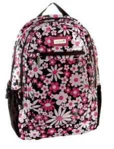 girly pink, white & black floral backpack by Hadaki