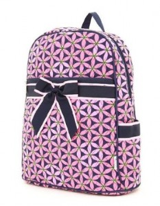 Pink Floral Pattern with Black bow backpack
