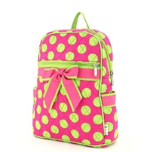 Hot Pink and Lime Green polka dot backpack with pink ribbon