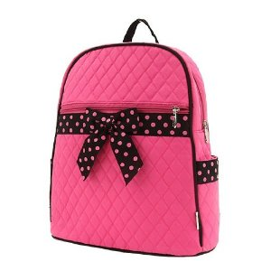 Hot pink quilted backpack with black and pink polka dotted bow