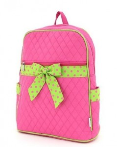 Hot Pink Quilted pattern with lime green polka dot bow backpack