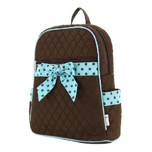 Black bag with blue & black polka dot ribbon bow backpack