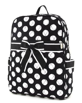Black & White Polka dot backpack with black bow