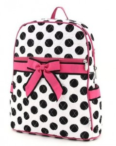 Black and White spotted backpack with hot pink bow