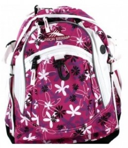 Purple flower print backpack - High Sierra Cerise Daisy Girl