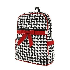 Black and White houndstooth pattern backpack with red ribbon bow