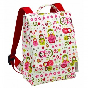 Girls White backpack with flowers and Russian Dolls - Sugarbooger Kiddie Play Back Pack, Matryoshka Doll