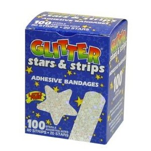 Glitter stars and strips bandaid