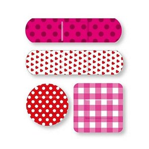 Pink Cute bandaids for girly women - polka dot, gingham and heart pattern