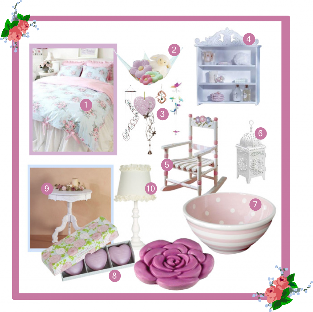 Shabby Chic Girls Bedroom design / decor ideas : pink , baby blue & white