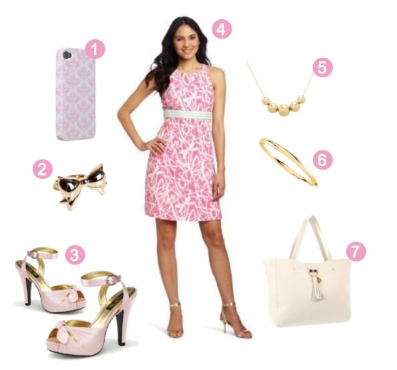 Pink outfit matching a cute gold bow ring