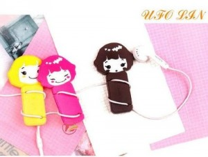 Cute cartoon girl earphone winder