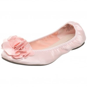 Pale pink ballet flats with flower