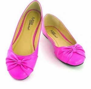 Hot Pink Ballet Flats with bow by Max Footwear